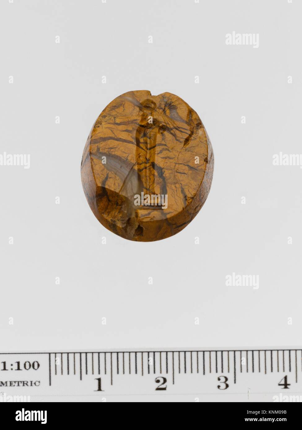 Mottled yellow jasper scaraboid seal. Period: Late Classical; Date: 4th century B.C; Culture: Greek; Medium: Jasper, Stock Photo
