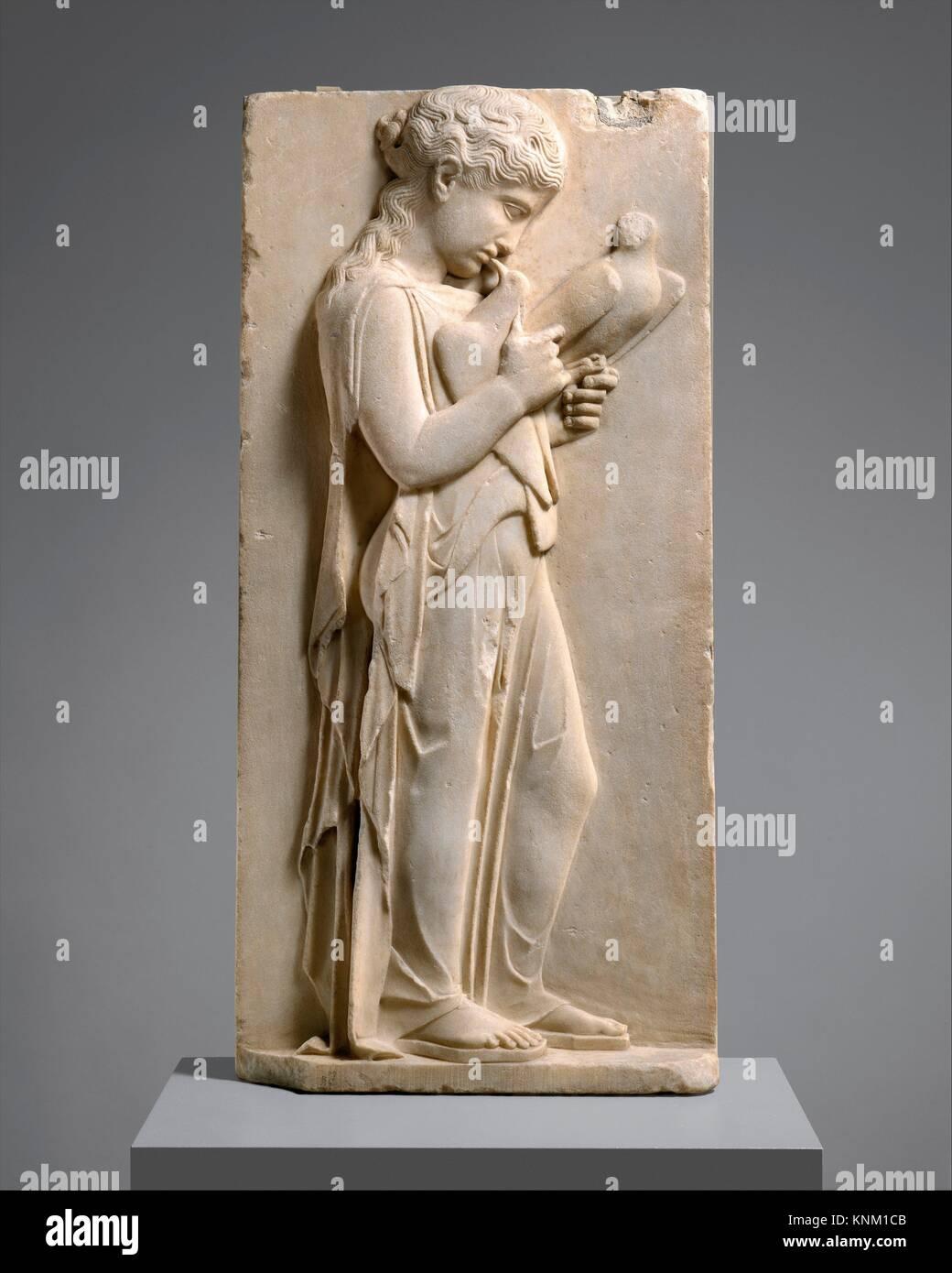 Marble grave stele of a little girl. Period: Classical; Date: ca. 450-440 B.C; Culture: Greek; Medium: Marble, Parian; - Stock Image