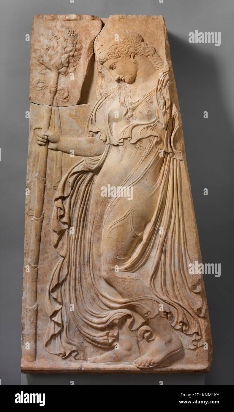 Marble relief with a dancing maenad. Adaptation of work attributed to Kallimachos; Period: Early Imperial, Augustan; Stock Photo