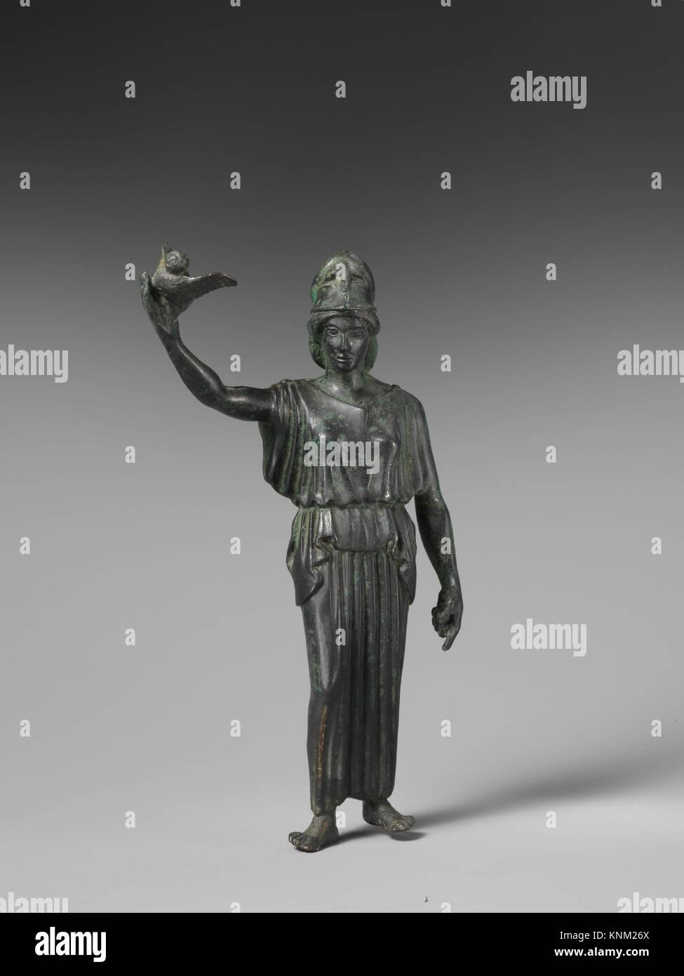Bronze statuette of Athena flying her owl. Period: Classical; Date: ca. 460 B.C; Culture: Greek; Medium: Bronze; - Stock Image