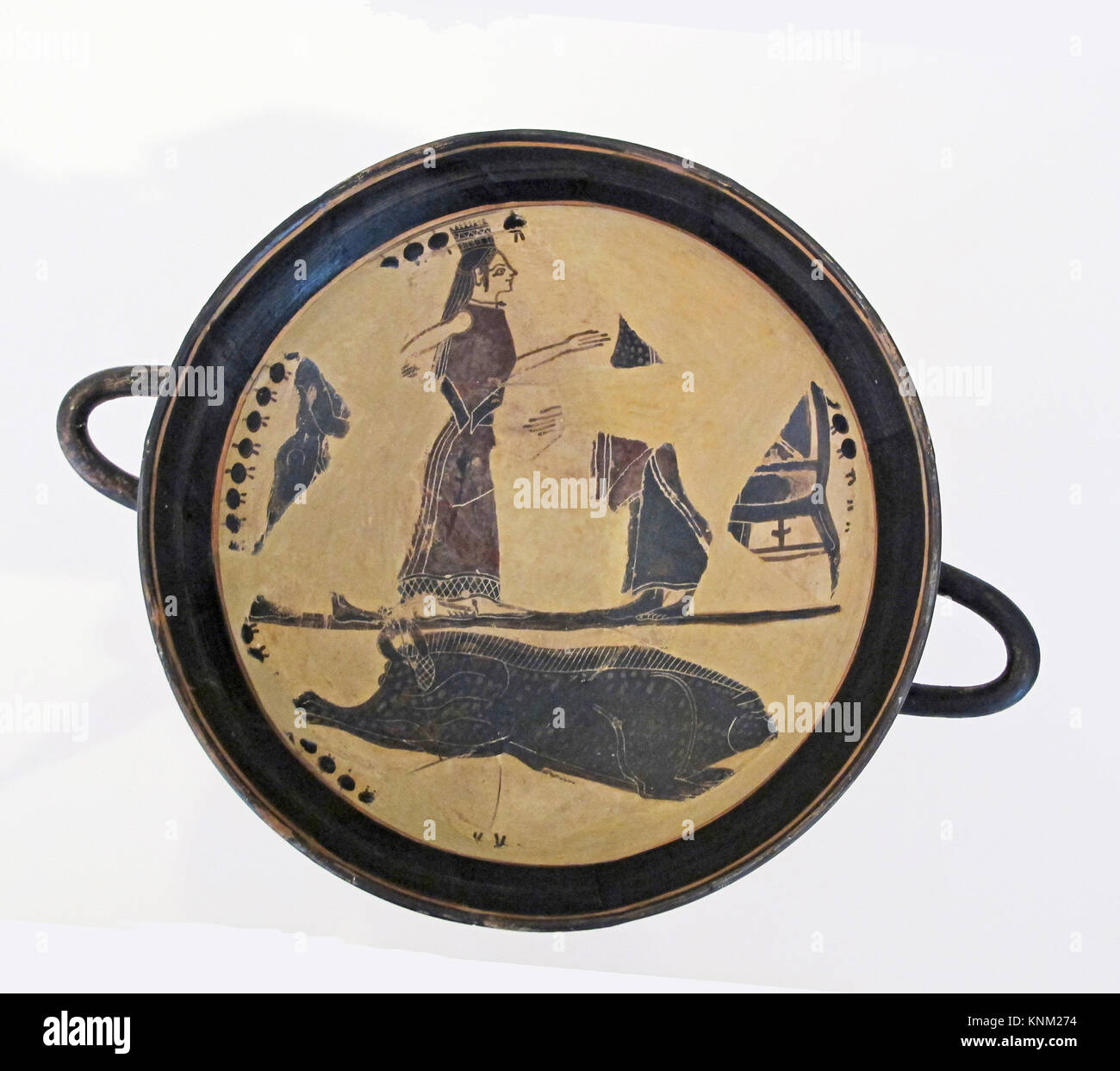Terracotta kylix (drinking cup). Attributed to the Boreads Painter; Period: Archaic; Date: ca. 570-560 B.C; Culture: - Stock Image