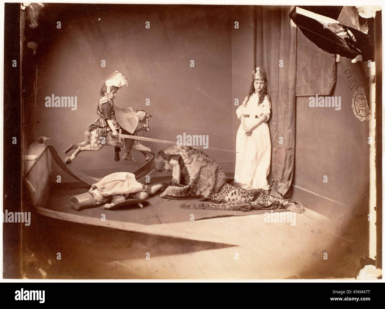 St. George and the Dragon. Artist: Lewis Carroll (British, Daresbury, Cheshire 1832-1898 Guildford); Date: June - Stock Image
