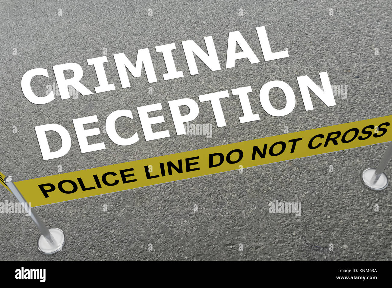 3D illustration of 'CRIMINAL DECEPTION' title on the ground in a police arena - Stock Image