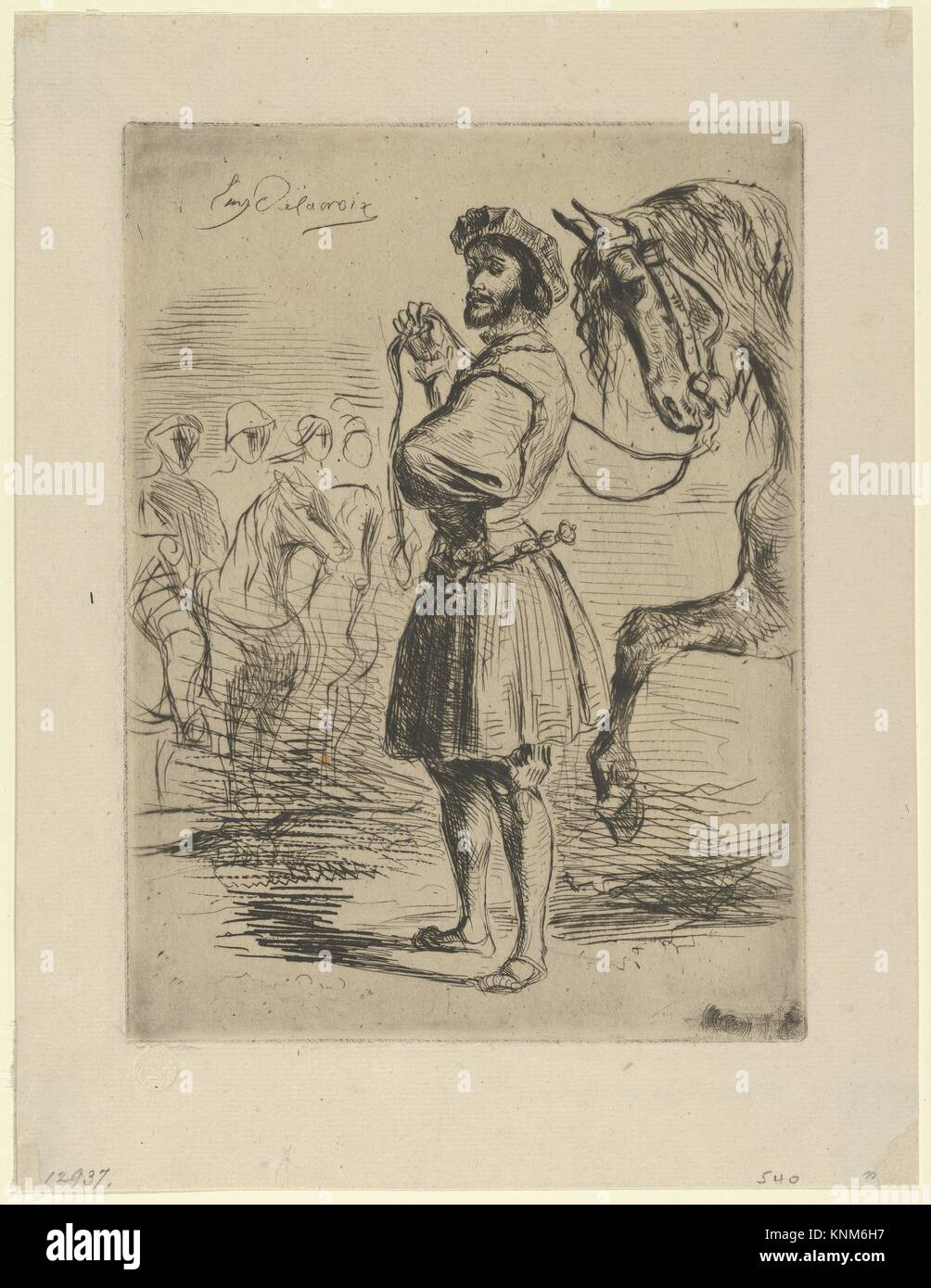 A Nobleman from the Time of Francis I. Artist: Eugène Delacroix (French, Charenton-Saint-Maurice 1798-1863 - Stock Image