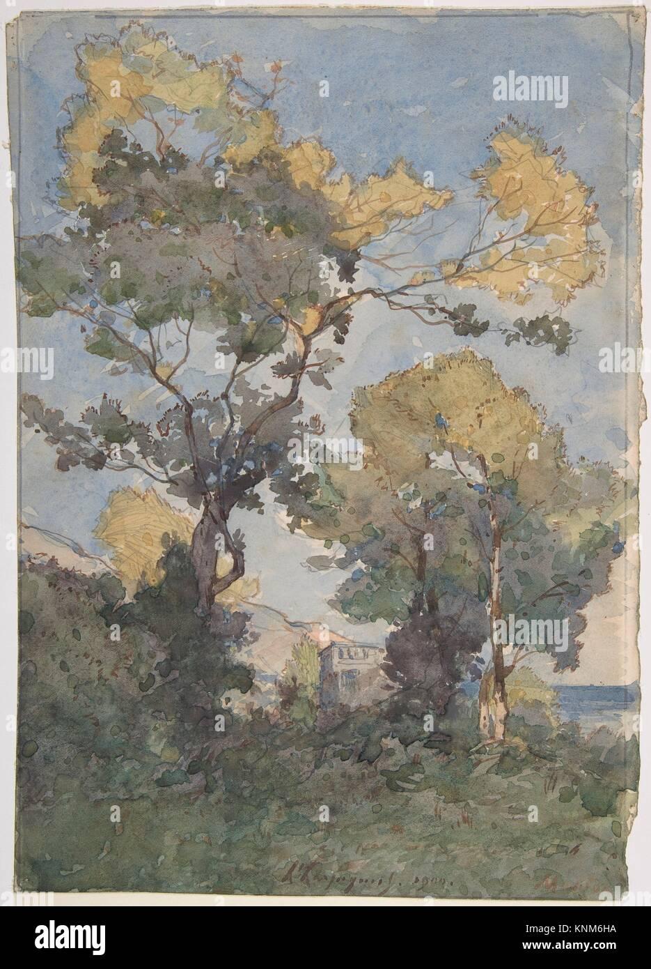 Landscape. Artist: Henri-Joseph Harpignies (French, Valenciennes 1819-1916 Saint-Privé); Date: 1900; Medium: - Stock Image