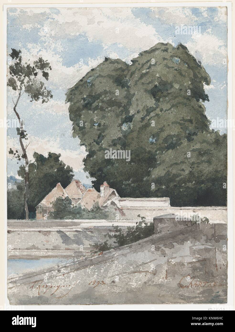 View from the Ramparts at Chartres. Artist: Henri-Joseph Harpignies (French, Valenciennes 1819-1916 Saint-Privé); - Stock Image