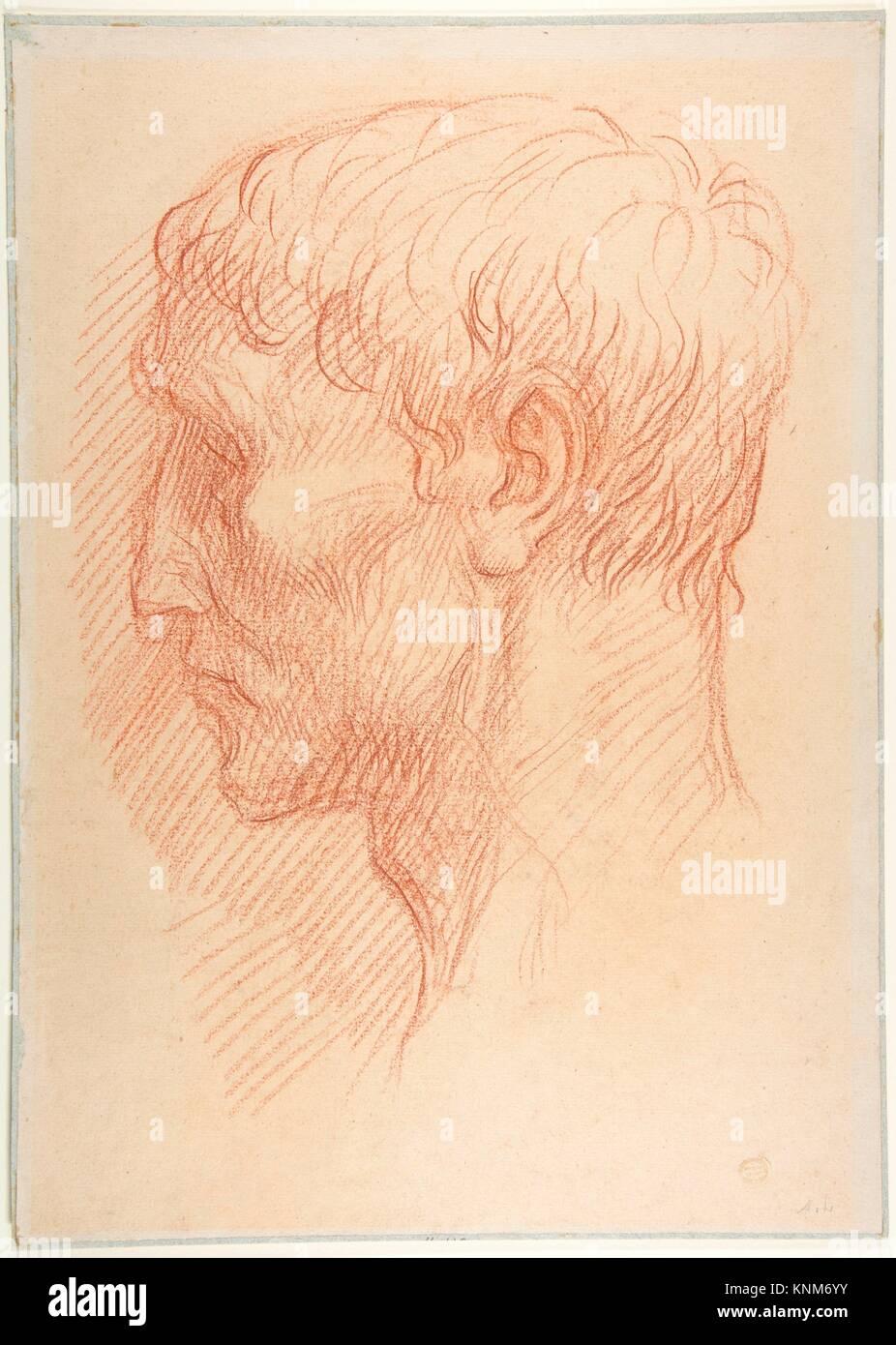 Head of a Quarryman. Artist: Alphonse Legros (French, Dijon 1837-1911 Watford, Hertfordshire); Date: 1837-1911; - Stock Image