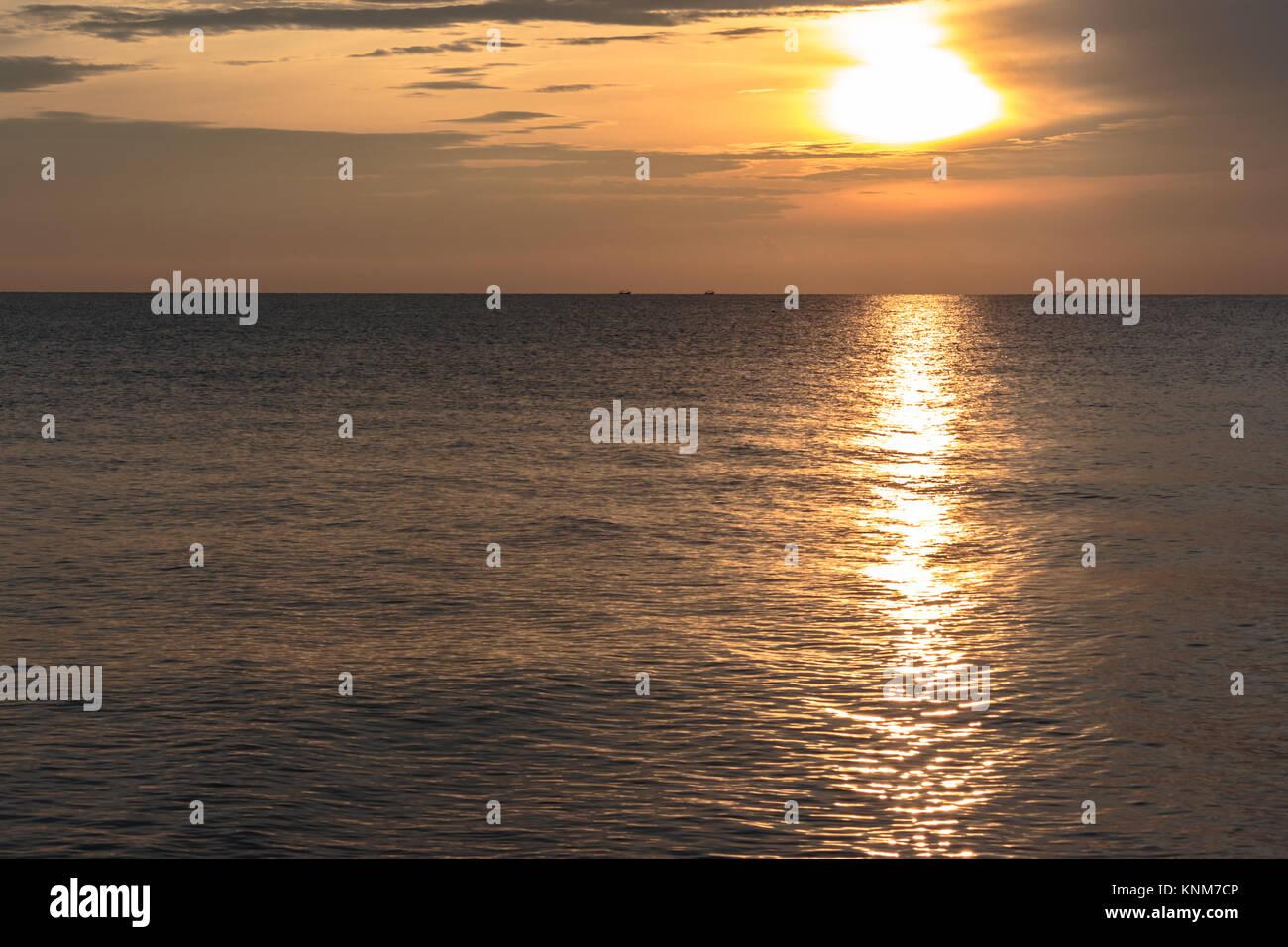 Good morning Sunrise Landscape from Songkhla Sea, Thailand - Stock Image