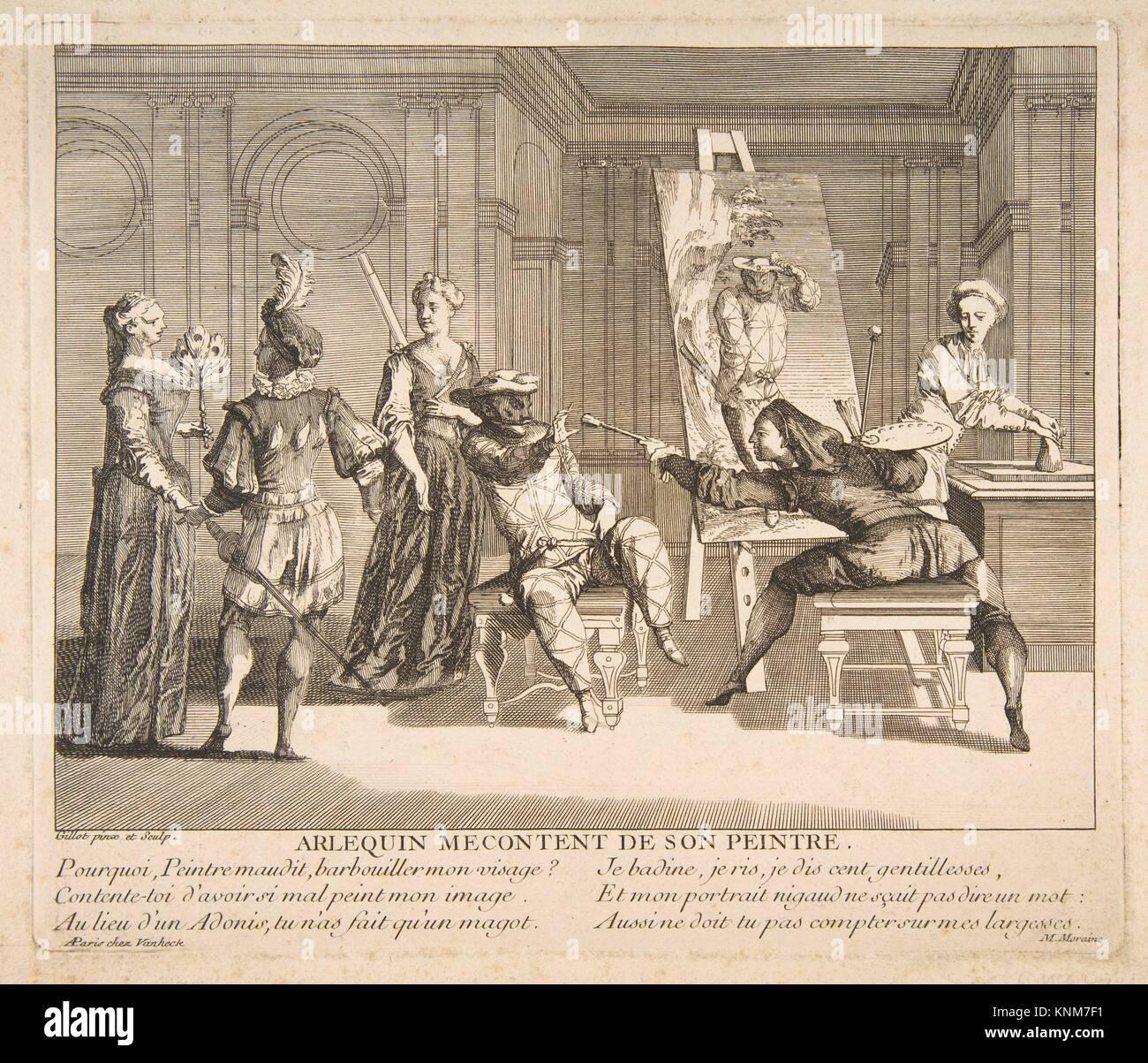 Arlequin Mecontent de Son Peintre. Artist and engraver: Claude Gillot (French, Langres 1673-1722 Paris); Date: n.d; - Stock Image