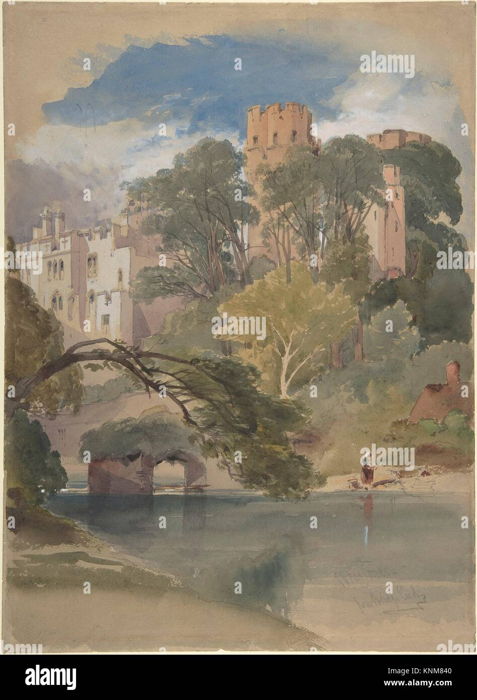 Caesar´s Tower, Warwick Castle. Artist: William Callow (British, Greenwich 1812-1908 Great Missenden, Buckinghamshire); - Stock Image