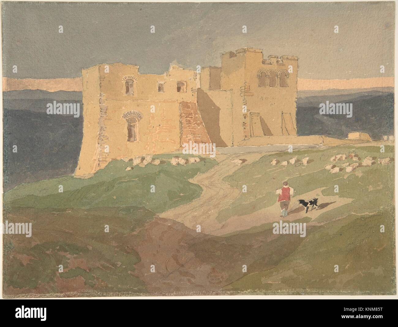 Ruined Castle. Artist: Attributed to John Sell Cotman (British, Norwich 1782-1842 London); Date: 1802-42; Medium: - Stock Image