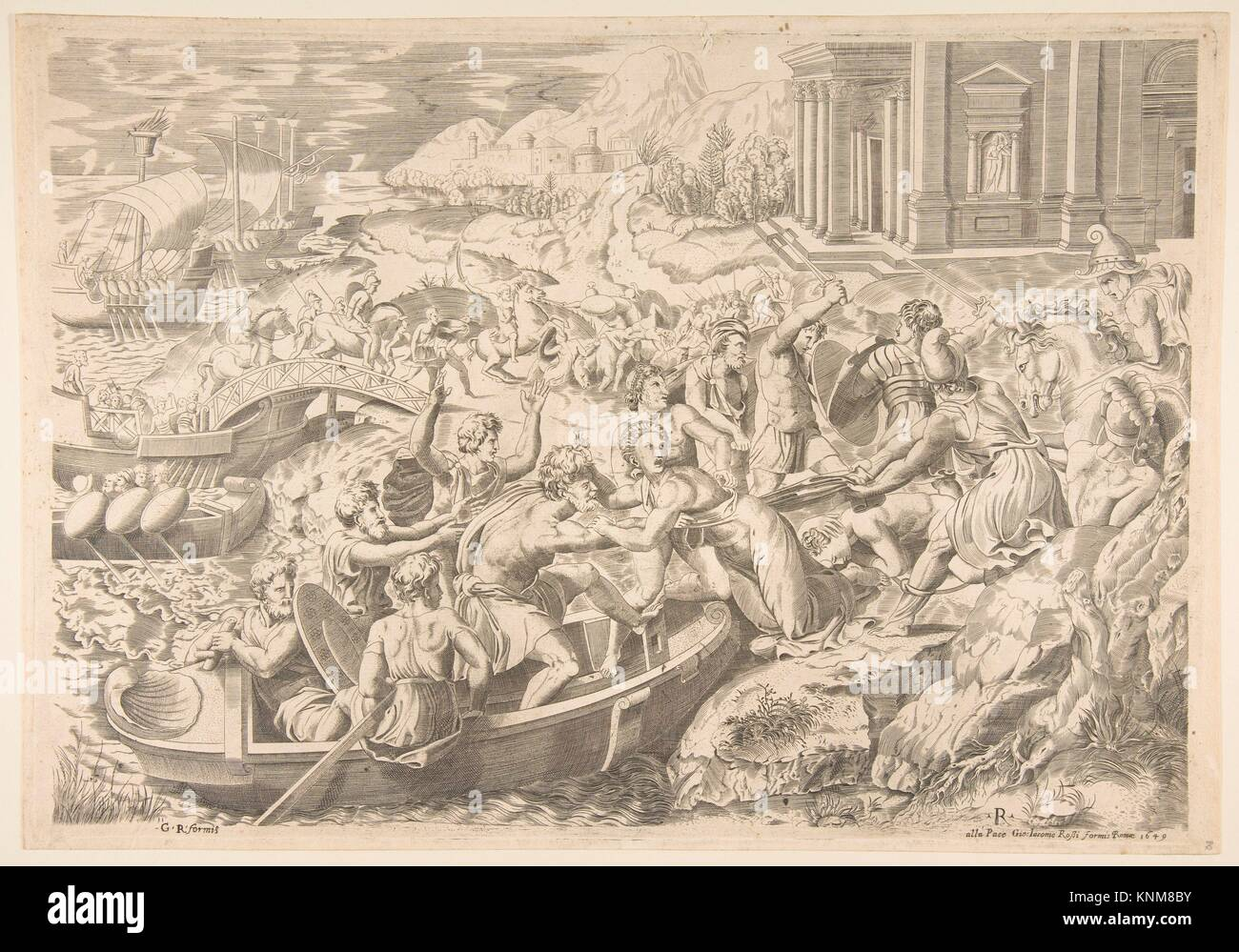 The abduction of Helen; battle scene on a shore with two men pulling Helen into a boat at center and another man Stock Photo