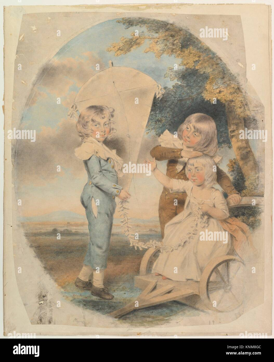 The Dyson Children. Artist: John Downman (British, Ruabon, Wales 1750-1824 Wrexham, Wales); Date: 1787; Medium: - Stock Image