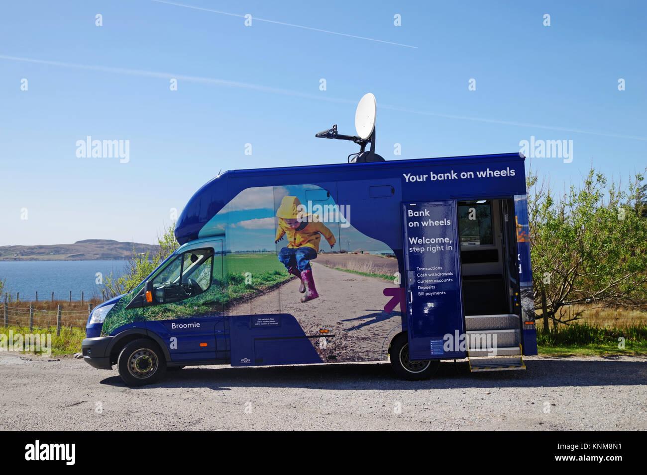 RBS Royal Bank of Scotland Mobile Bank Van at Achiltibuie, Wester Ross, Scottish Highlands, providing banking service - Stock Image