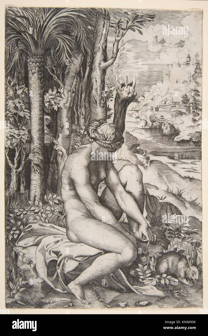 Venus removing a thorn from her left foot while seated on a cloth next to trees, a hare lower right. Artist: Marco - Stock Image
