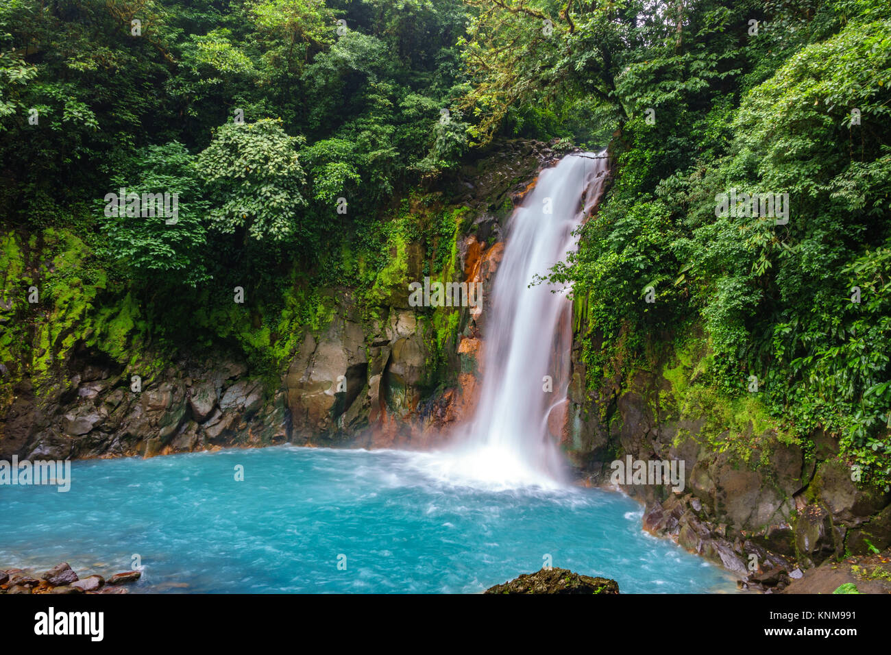 Celestial blue waterfall and pond in tenorio national park, Costa Rica - Stock Image