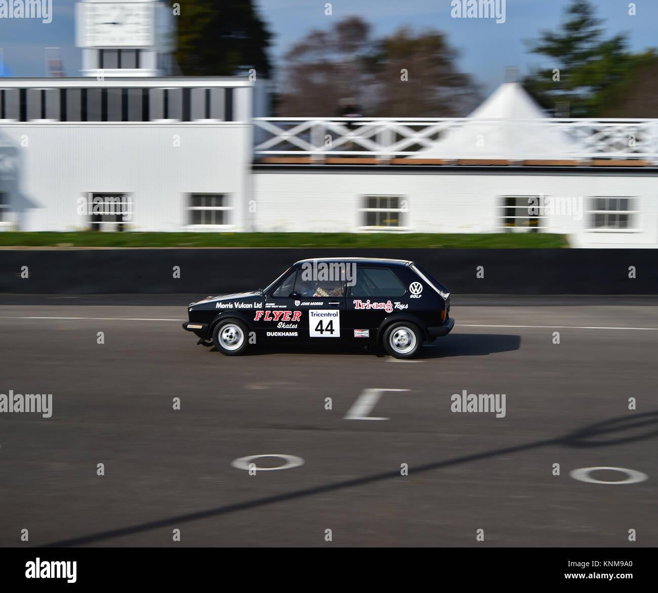 Jim Morris, Barrie 'Whizzo' Williams, VW Mk1 Golf GTi, Gerry Marshall Trophy, Goodwood 72nd Members Meeting, GRRC, Stock Photo
