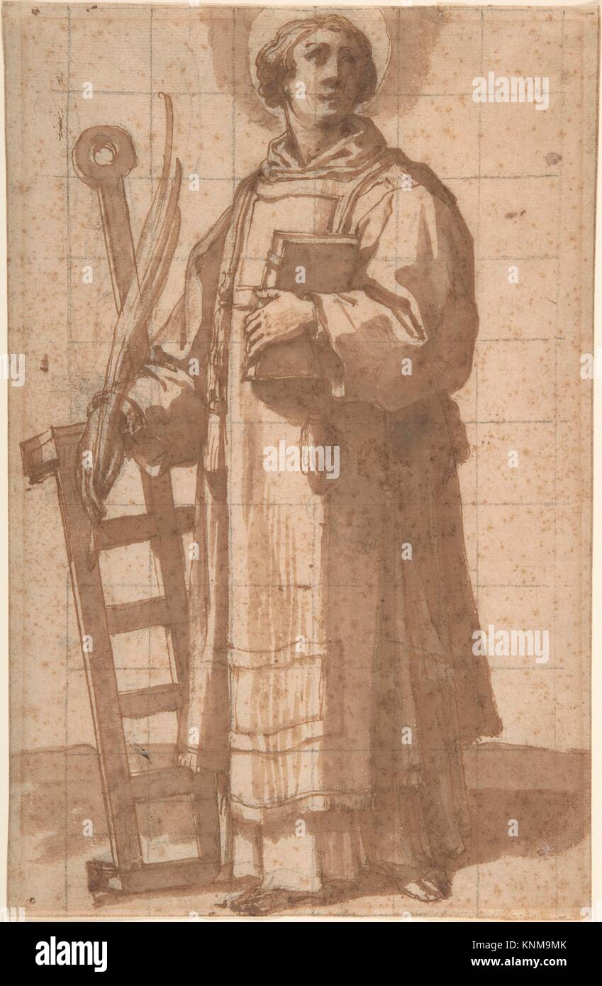 Saint Lawrence. Artist: Bartolomeo Cesi (Italian, Bologna 1556-1629 Bologna); Date: 1619; Medium: Pen and brown - Stock Image