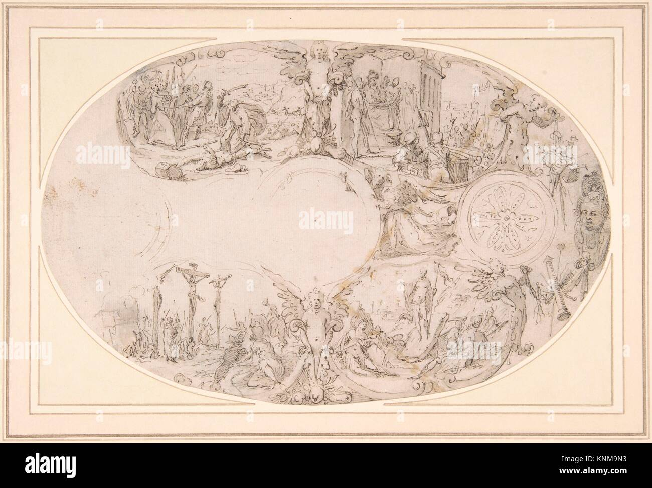 Design for a Silver Vessel with Scenes from the Passion of Christ. Artist: Paulus Willemsz. van Vianen (Netherlandish, Stock Photo