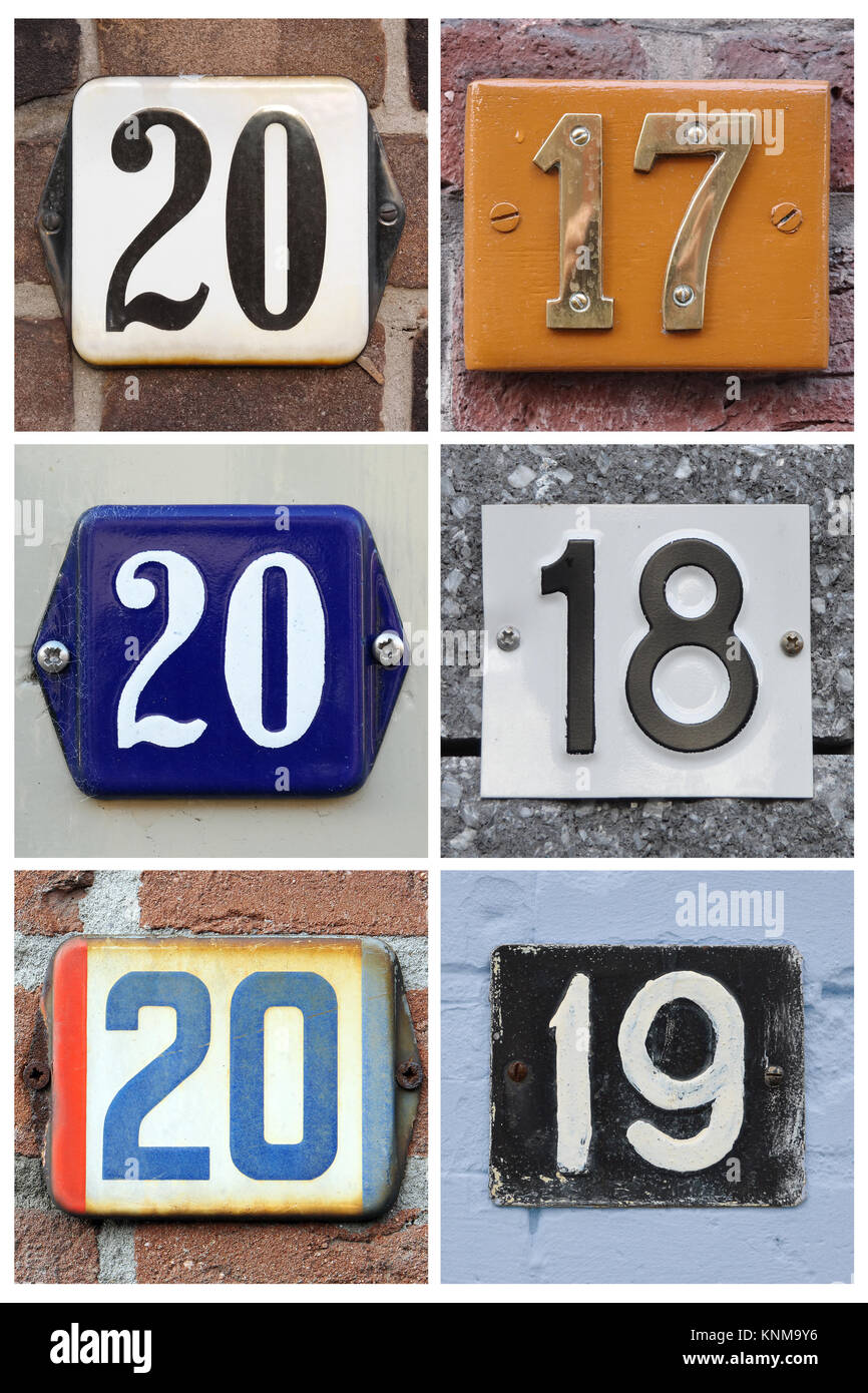 A collage of numbers 2017, 2018 and 2019 composed of house numbers. - Stock Image
