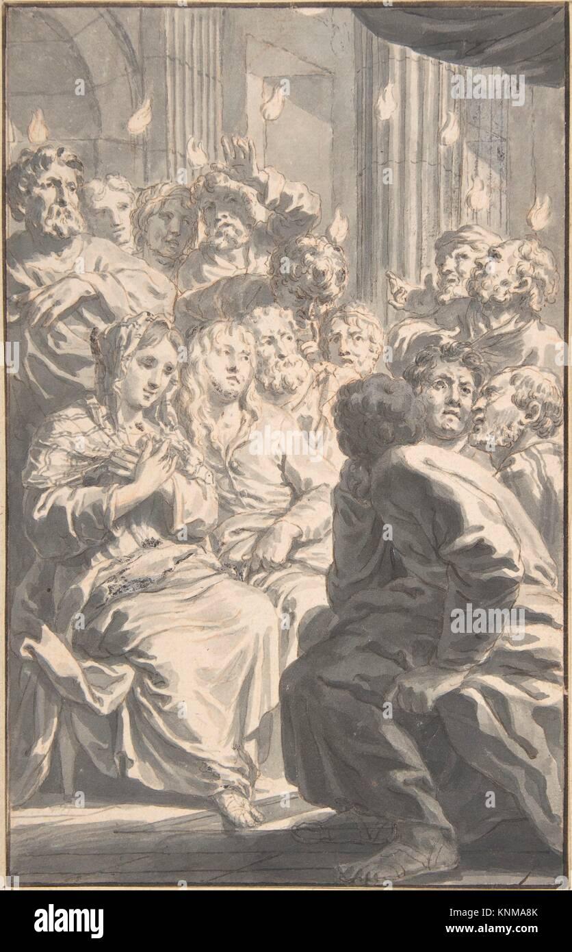 The Pentecost. Artist: Gerard de Lairesse (Dutch, Liège 1641-1711 Amsterdam); Date: n.d; Medium: Pen and grayish - Stock Image