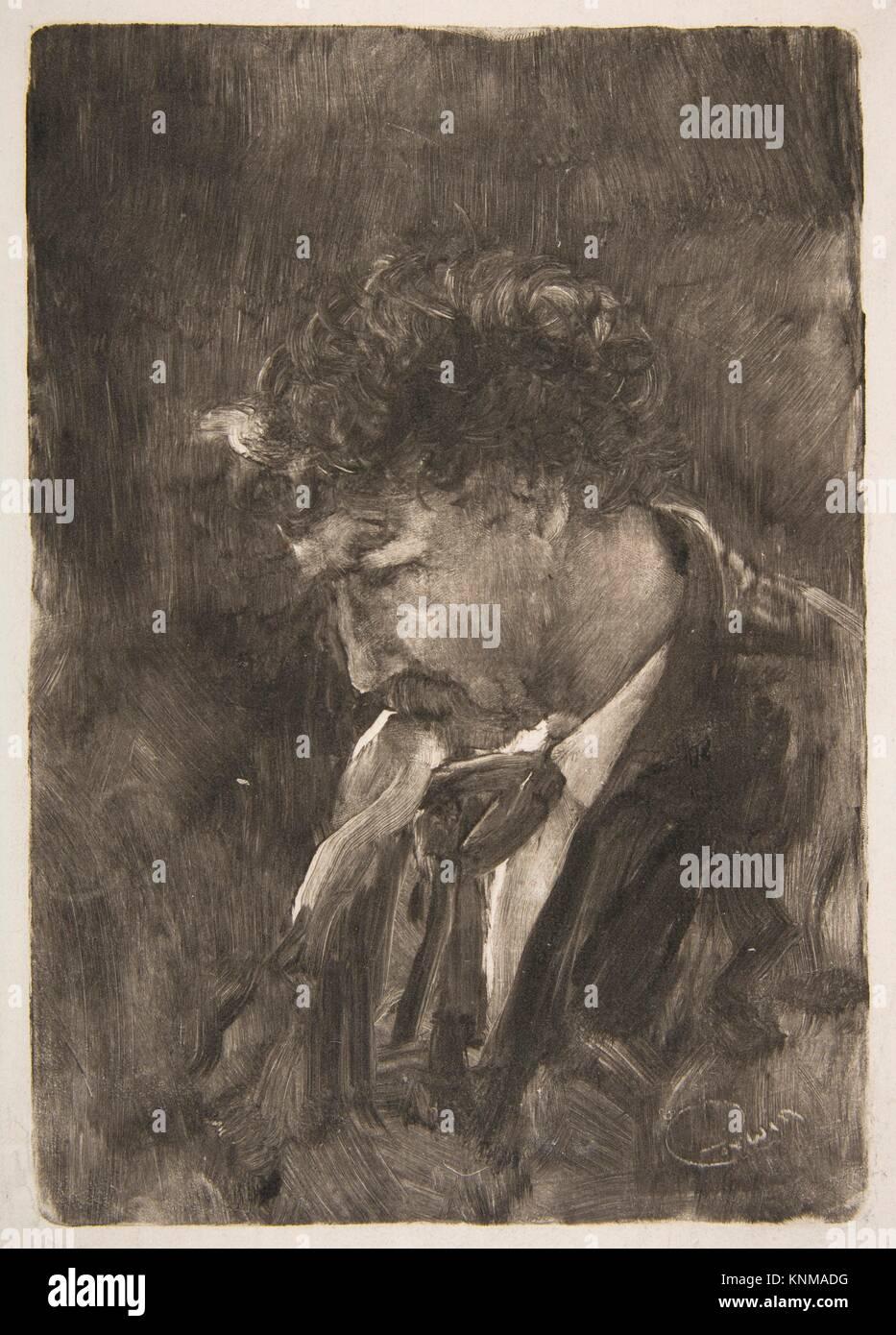 Portrait of James NcNeill Whistler. Artist: Charles Abel Corwin (American, Newburgh, New York 1857-1938 Chicago, - Stock Image