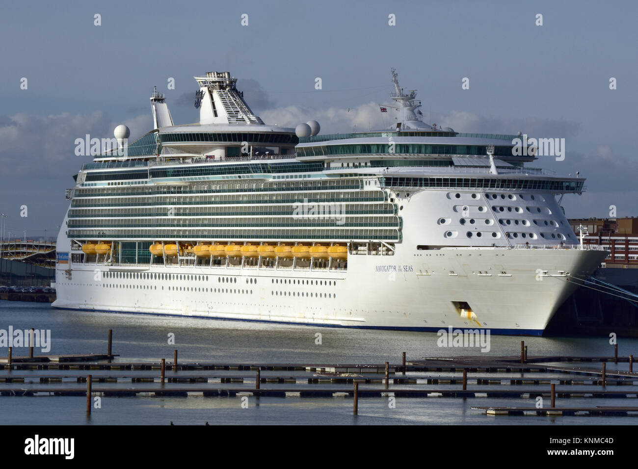 the navigator of the seas cruise liner alongside at the cruise terminal in the port of Southampton docks in Hampshire, - Stock Image