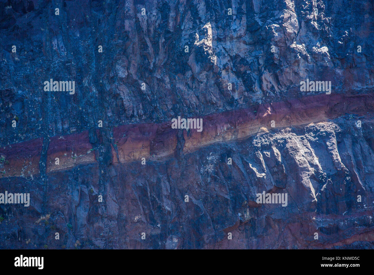 Surface of Cliff on Madeira - Pattern structure of geologic stones - Stock Image