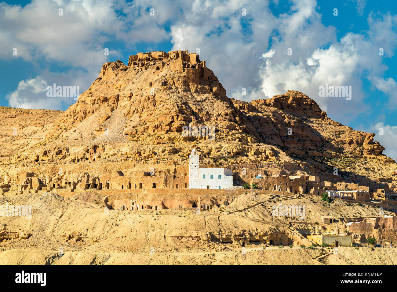 View of Doiret, a hilltop-located berber village in South Tunisia Stock Photo