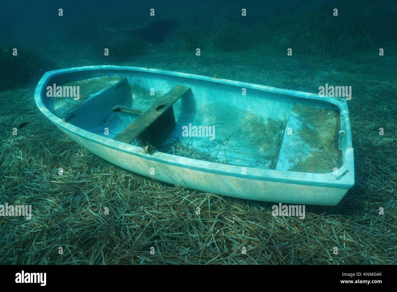 Underwater a small boat sunken on the seabed with leaves of Neptune grass, Mediterranean sea, Catalonia, Costa Brava, - Stock Image