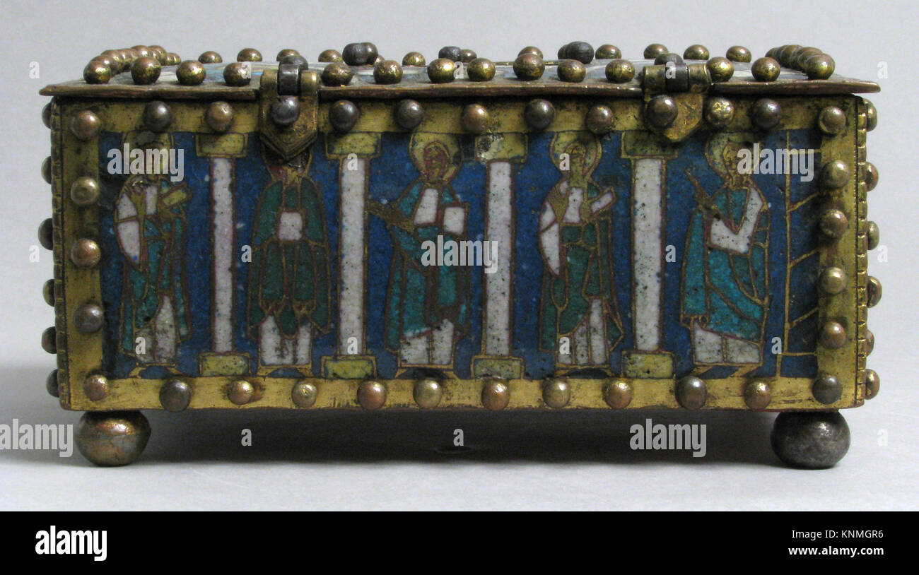Casket or Portable Altar with the Crucifixion, Standing Saints, and Christ in Majesty with Symbols of the Evangelists - Stock Image