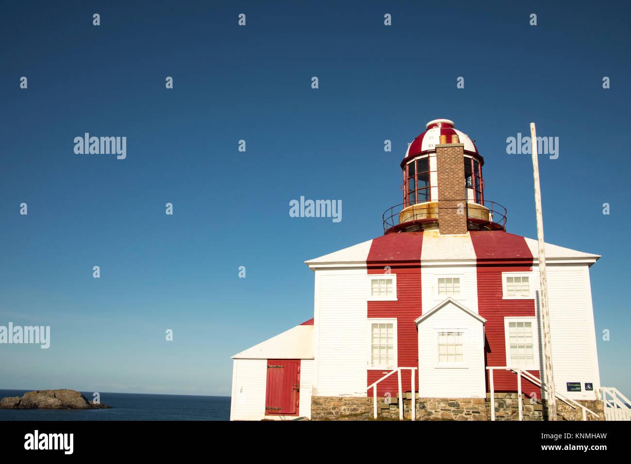 Cape Bonavista Lighthouse, Newfoundland, Canada against blue skies on sunny day. - Stock Image