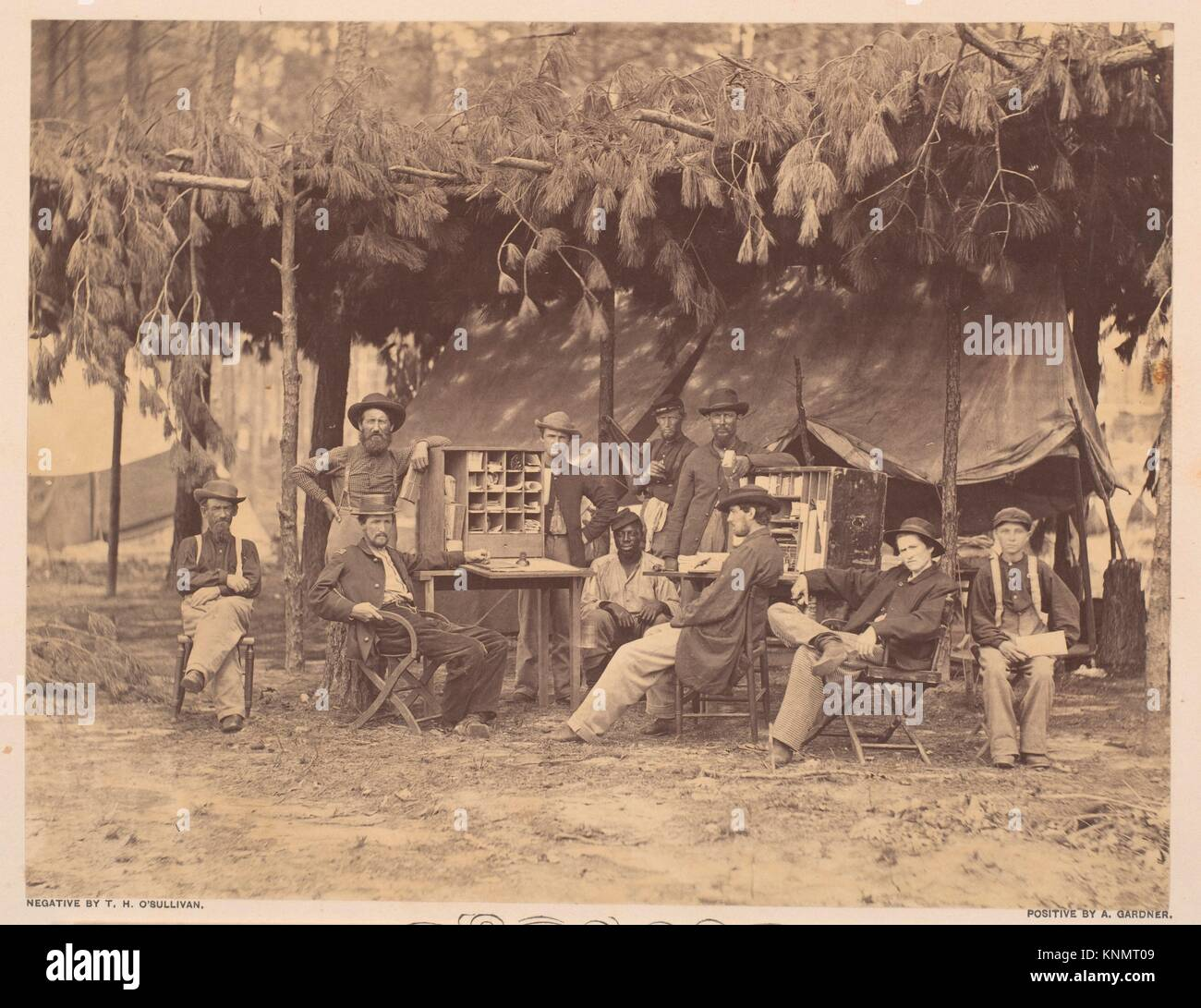 Chief Officer and Clerks of the Ambulance Department, 9th Army Corps, in Front of Petersburg, Virginia. Artist: - Stock Image