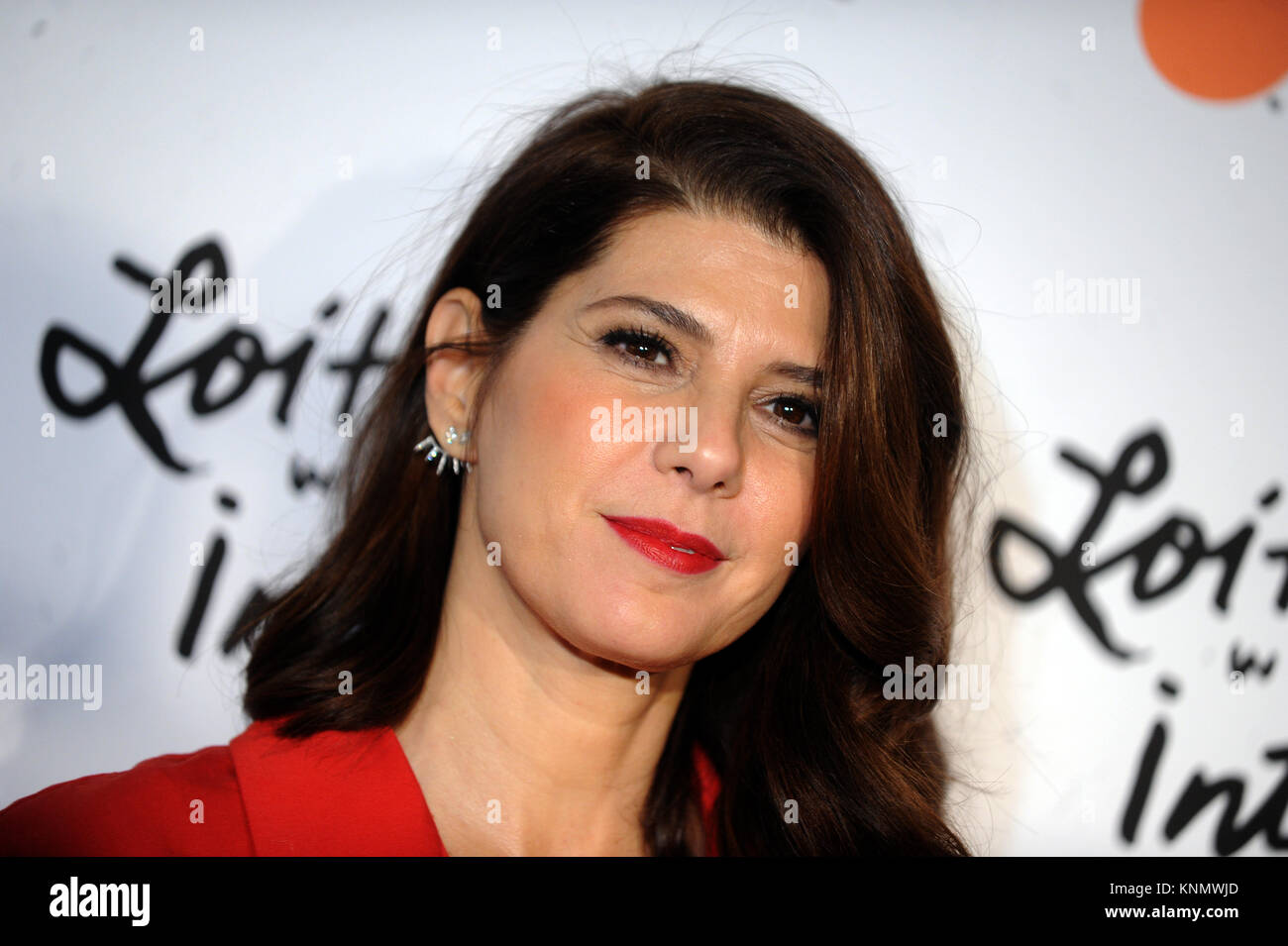 NEW YORK, NY - JANUARY 14: Marisa Tomei attends the New York premiere of 'Loitering With Intent' at SVA - Stock Image