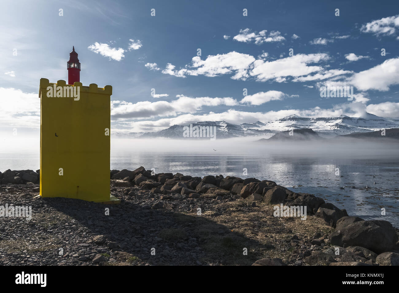Eskifjordor Lighthouse in the East Fjords, Iceland - Stock Image