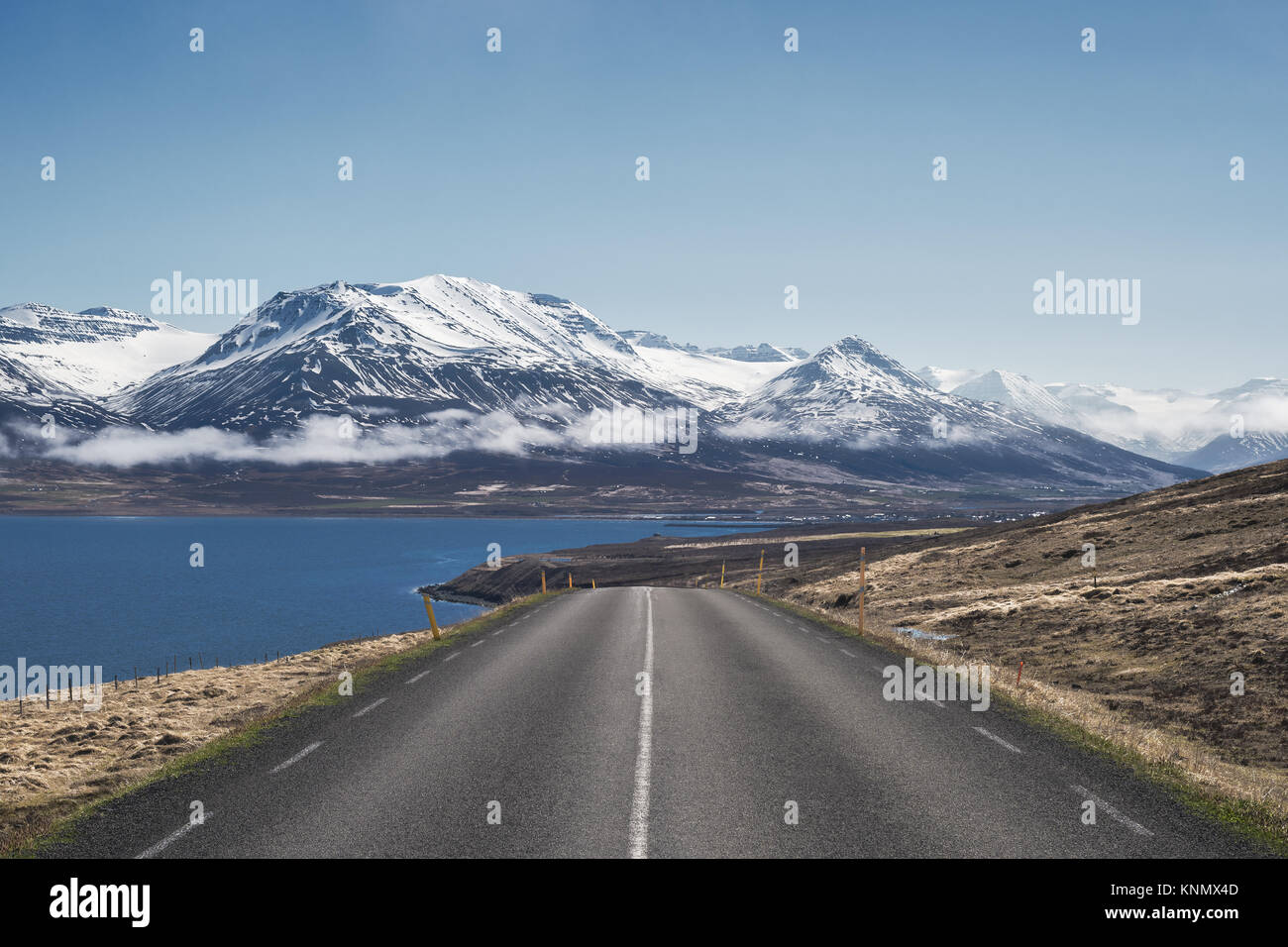 Beautiful morning view down Route 82 towards Dalvik in North Iceland - Stock Image