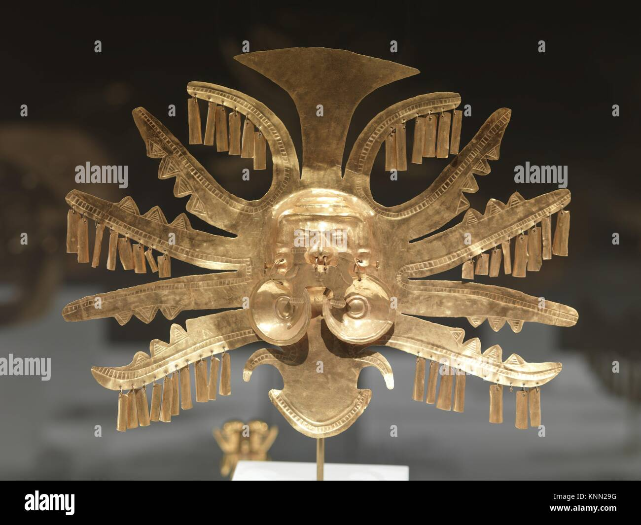Headdress Ornament. Date: 1st-7th century; Geography: Colombia; Culture: Calima (Yotoco); Medium: Gold; Dimensions: Stock Photo