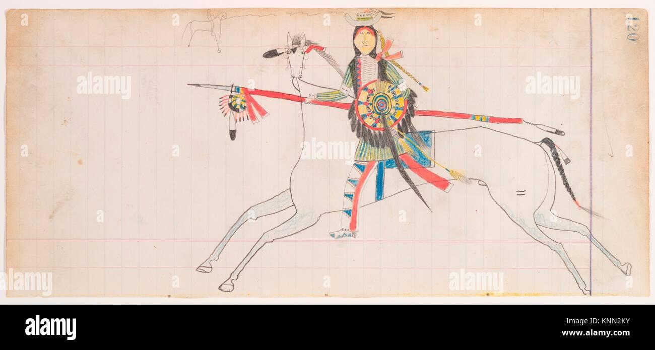 Horse and Rider (Henderson Ledger Artist A). Artist: Frank Henderson (Native American, Hinono'eiteen (Arapaho), - Stock Image