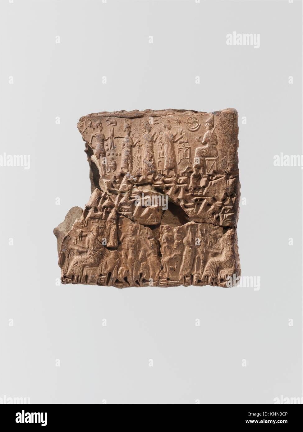 Cuneiform tablet case impressed with four cylinder seals in Anatolian and Old Assyrian style, for cuneiform tablet - Stock Image
