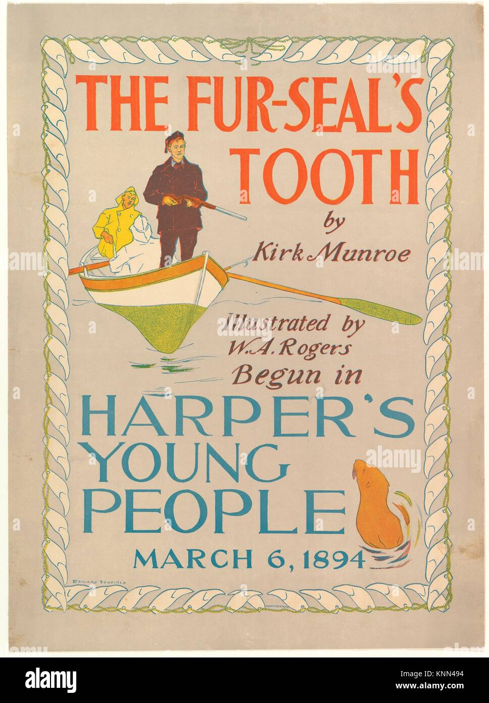 Harper's Young People: The Fur-Seal's Tooth by Kirk Monroe, March 6, 1894. Artist: Edward Penfield (American, - Stock Image