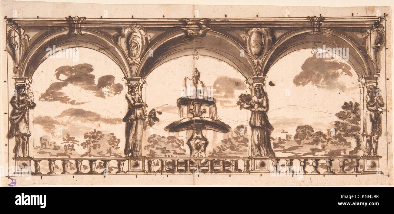Loggia with Caryatids before a Fountain and Landscape. Artist: Anonymous, Italian, Roman-Bolognese, 17th century; - Stock Image
