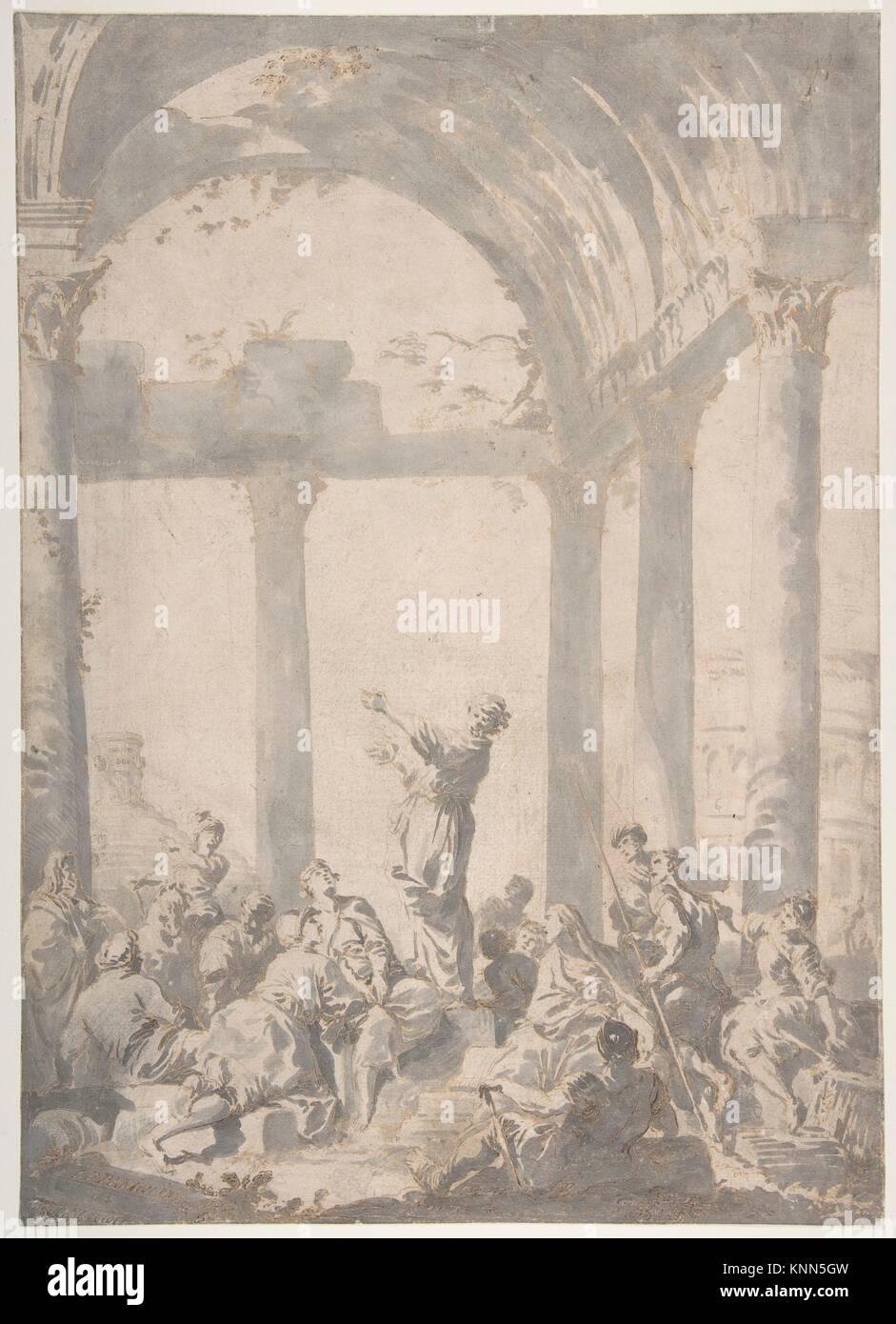Saint Paul Preaching in Athens. Artist: Giovanni Paolo Panini (Italian, Piacenza 1691-1765 Rome); Date: 1733; Medium: - Stock Image