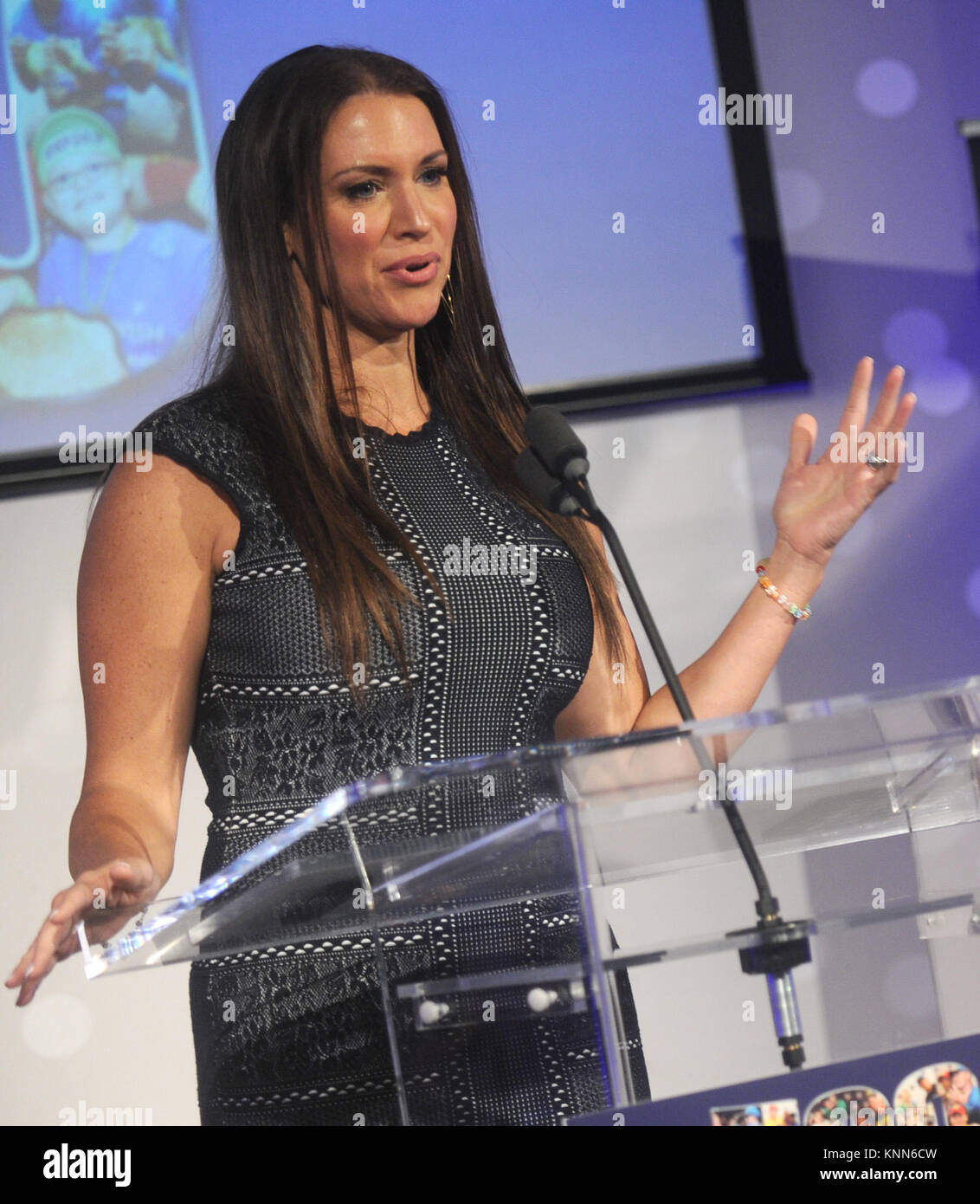 NEW YORK, NY - AUGUST 21: Stephanie McMahon attends John Cena and Make-A-Wish celebration of his 500th Wish Granting - Stock Image