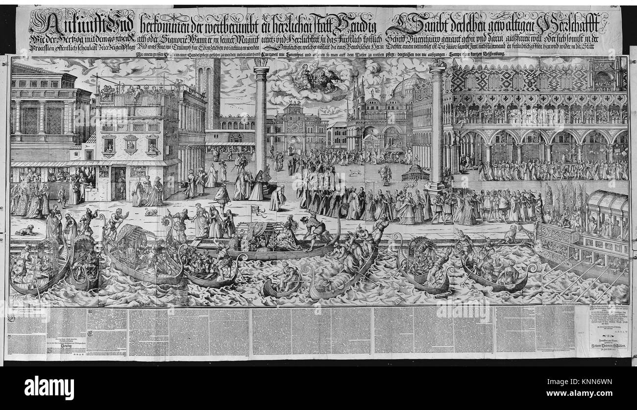 Procession of the Doge to the Bucintoro on Ascension Day, with a View of Venice, ca. 1565. Artist: Jost Amman (Swiss, - Stock Image