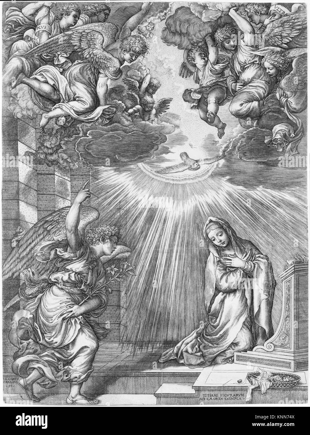 The Annunciation. Artist: Giovanni Jacopo Caraglio (Italian, Parma or Verona ca. 1500/1505-1565 Krakow (?)); Artist: - Stock Image