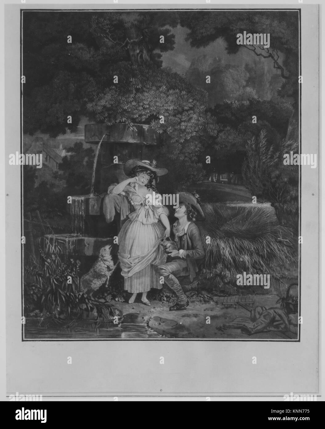 Fortune and Misfortune, or The Broken Pitcher. Artist: Louis Philibert Debucourt (French, Paris 1755-1832 Paris); - Stock Image