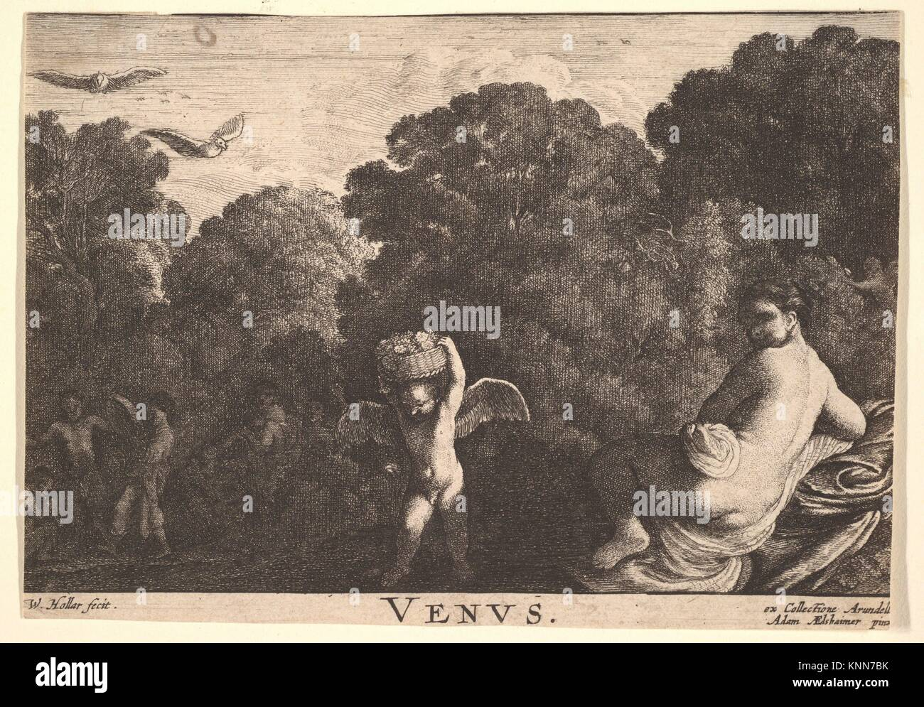 Realm of Venus, after Adam Elsheimer. Series/Portfolio: The Three Realms of the World,; Artist: Wenceslaus Hollar - Stock Image