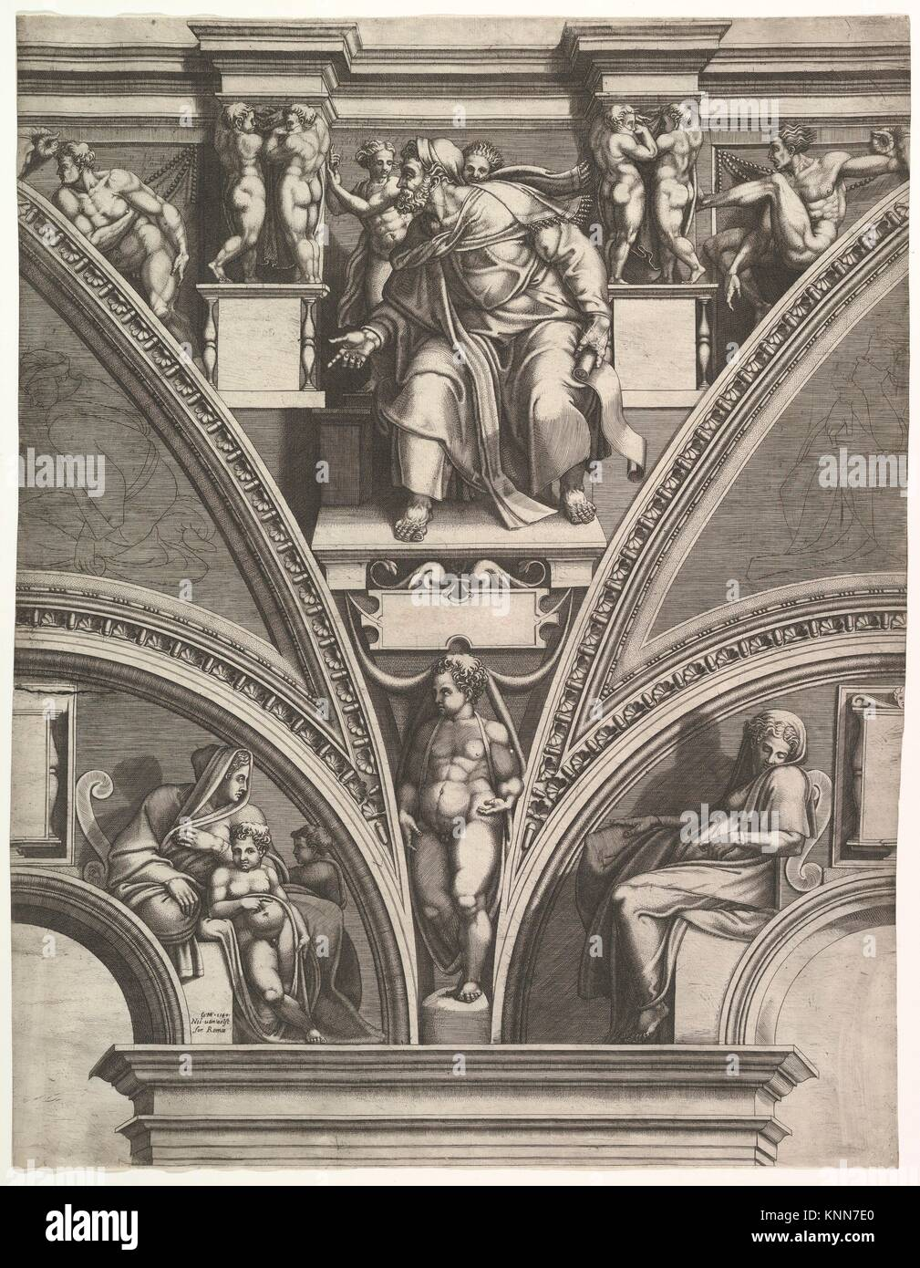 The Prophet Ezekiel; from the series of Prophets and Sibyls in the Sistine Chapel. Artist: Giorgio Ghisi (Italian, - Stock Image