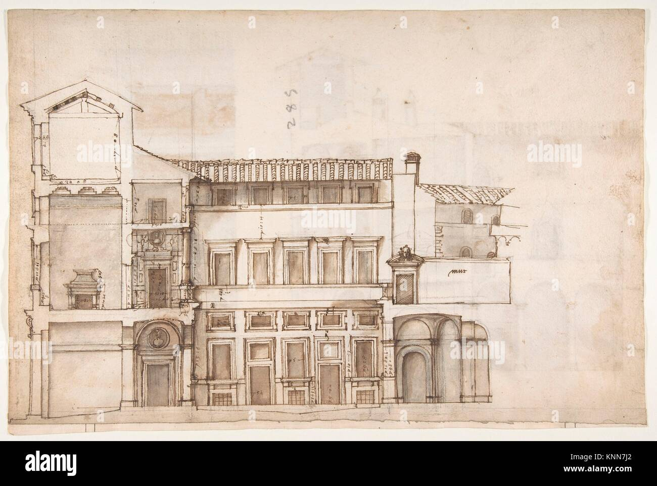 Palazzo Pirro in Rome, section (recto) Palazzo Pirro in Rome, sections; profiles (verso). Draftsman: Drawn by Anonymous, - Stock Image