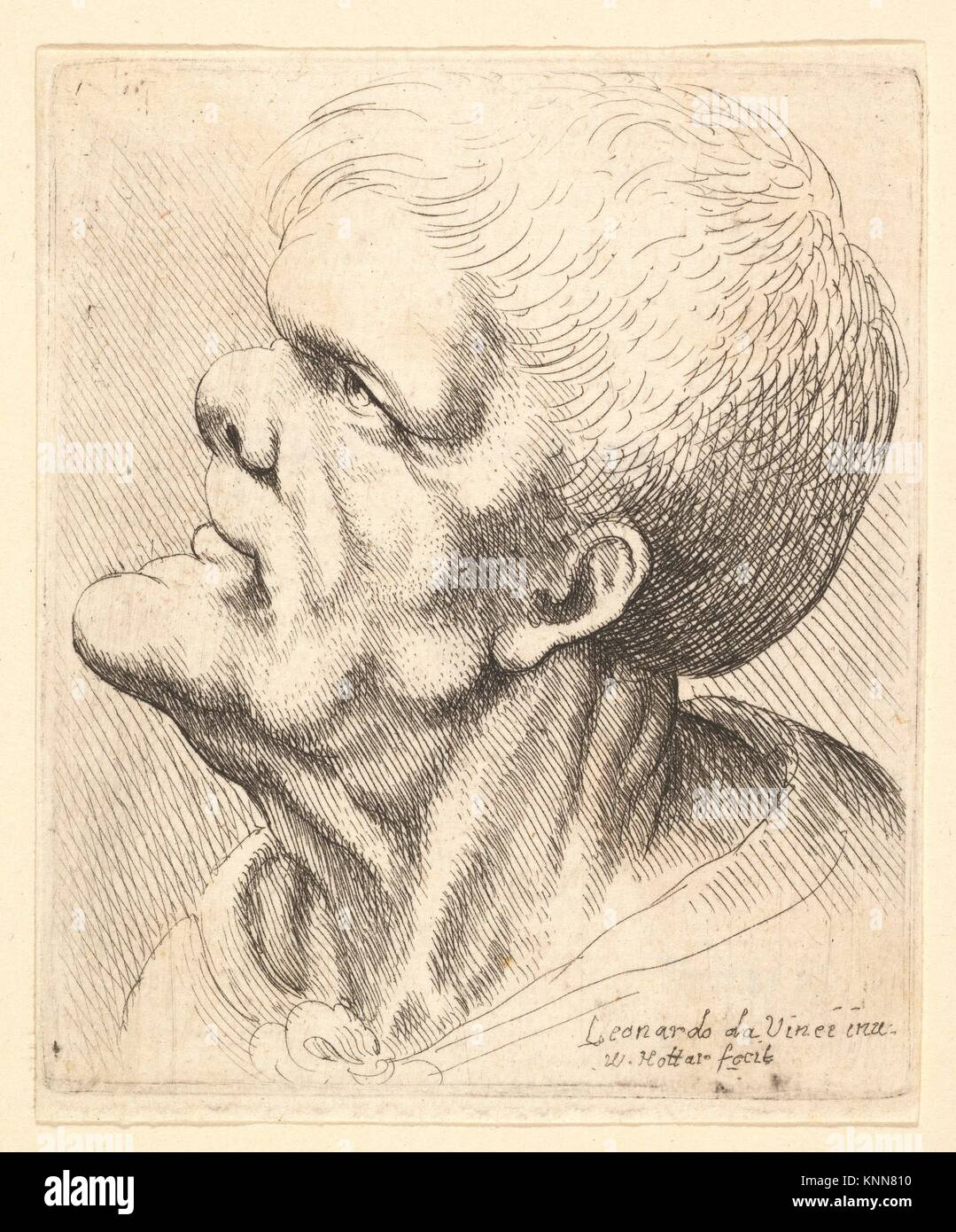 Head of a man with protruding chin and snub nose looking upwards in profile to left. Etcher: Wenceslaus Hollar (Bohemian, - Stock Image
